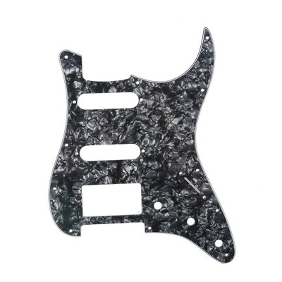Brio 11 Hole HSS Strat® Pickguard for Fender US/Mex Made Standard Stratocaster Modern Style Pearoid Black