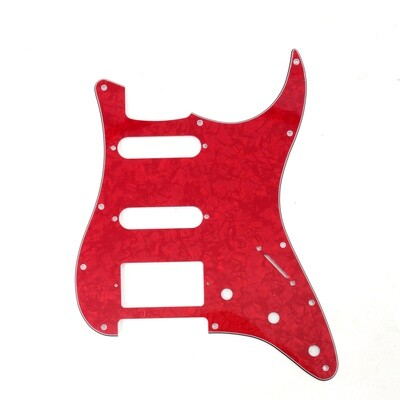 Brio 11 Hole HSS Strat® Pickguard for Fender US/Mex Made Standard Stratocaster Modern Style Pearoid Red