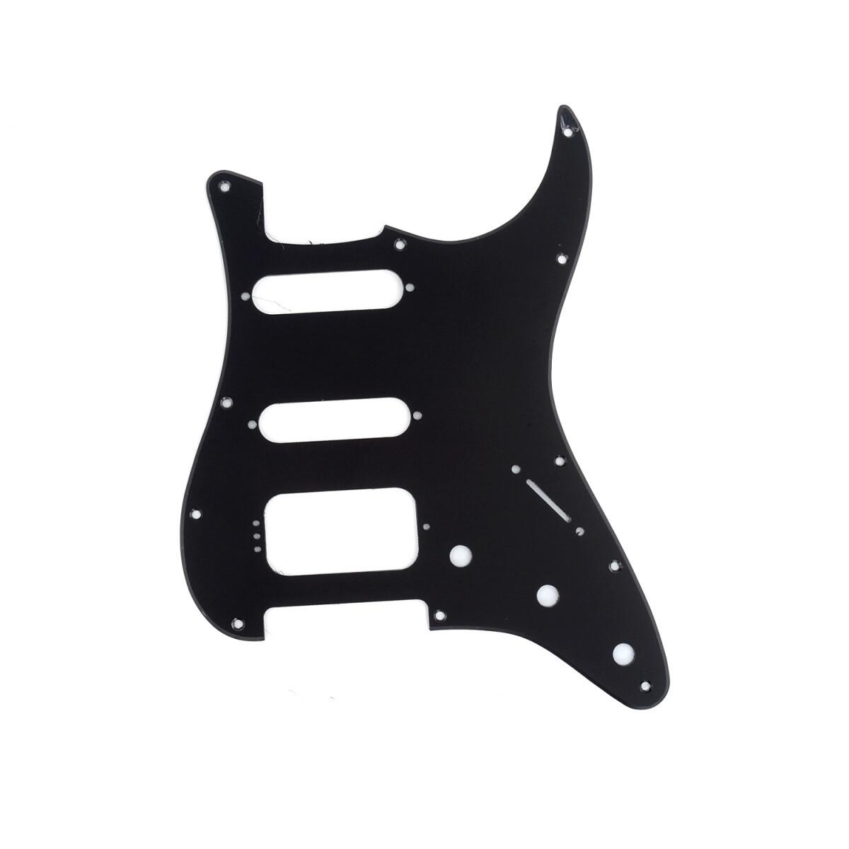 Brio 11-Hole Modern Style Strat HSS Pickguard for American Stratocaster Matte Black 1 Ply
