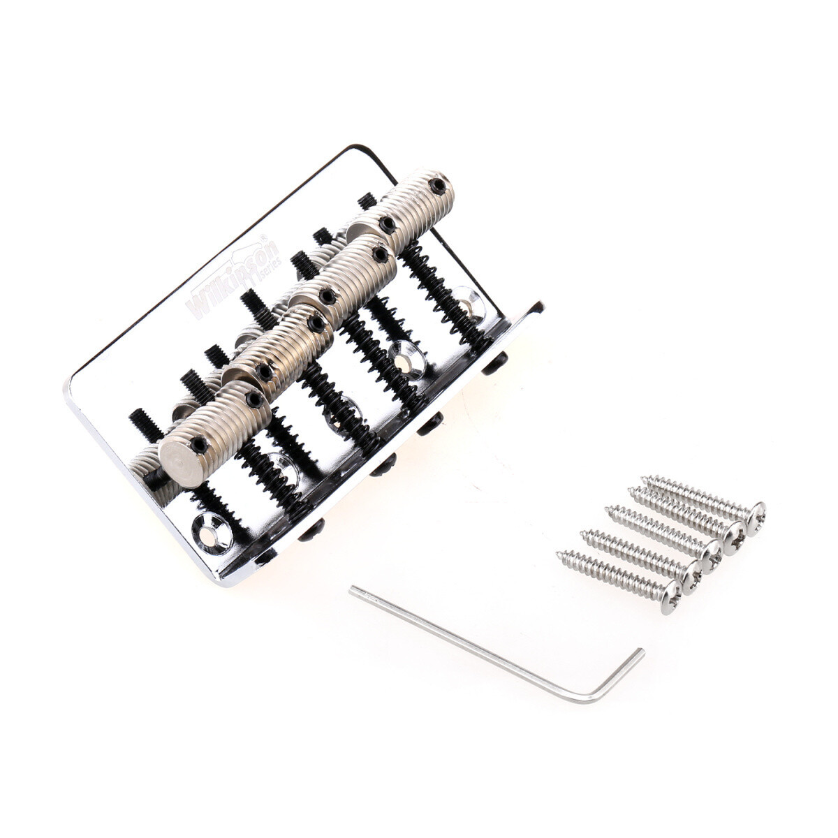 Wilkinson 57mm(2-1/4 inch) String Spacing 4-String Fixed Bass Bridge Threaded Saddles for Precision Bass and Jazz Bass, Chrome
