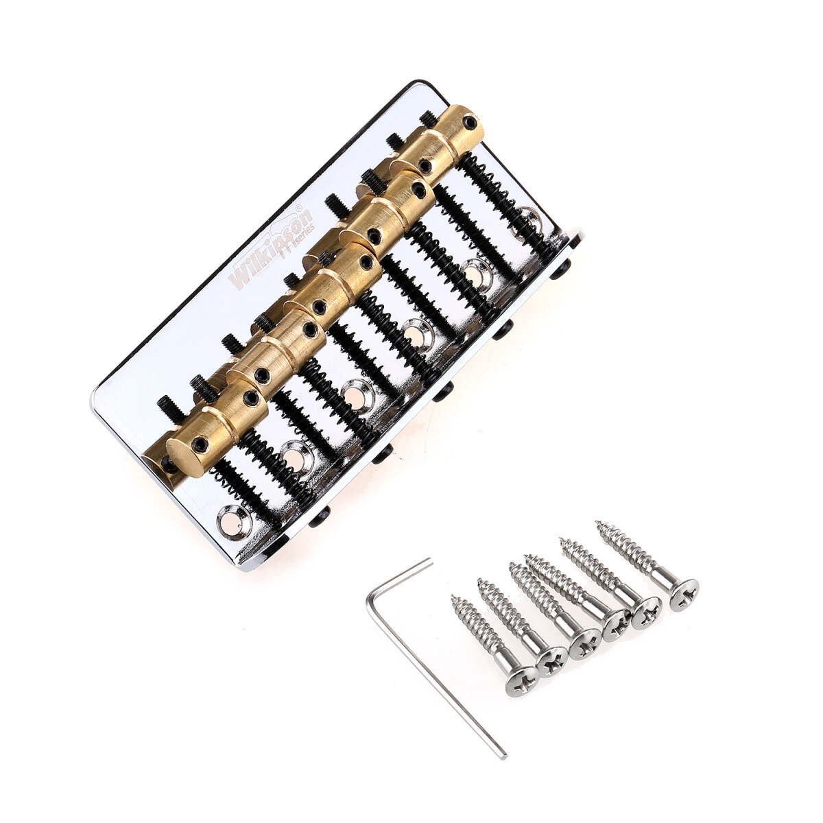 Wilkinson 76.2mm(3 inch) String Spacing 5-String Fixed Bass Bridge Brass Saddles for Precision Bass and Jazz Bass, Chrome