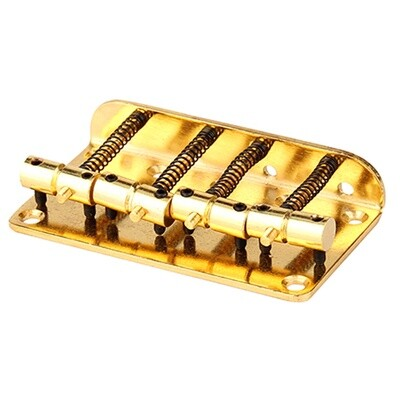 Brio 4 String Vintage Style Bass Bridge for Jazz Bass Top Load Gold