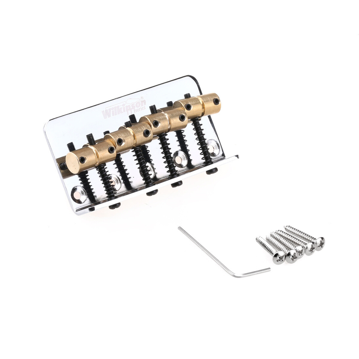 Wilkinson 57mm(2-1/4 inch) String Spacing 4-String Fixed Bass Bridge Brass Saddles for Precision Bass and Jazz Bass, Chrome