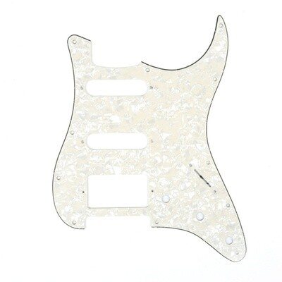 Brio 11-Hole Modern Style Strat HSS Pickguard for American Stratocaster Pearl Aged White