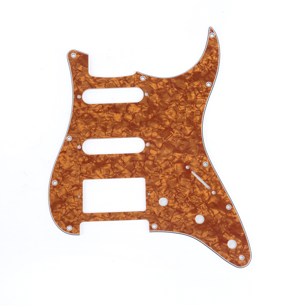 Brio 11-Hole Modern Style Strat HSS Pickguard for American Stratocaster Pearl Golden Brown