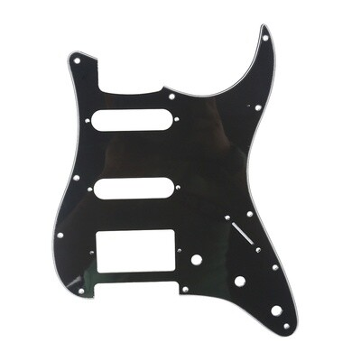 Brio 11-Hole Modern Style Strat HSS Pickguard for American Stratocaster Black 3 Ply