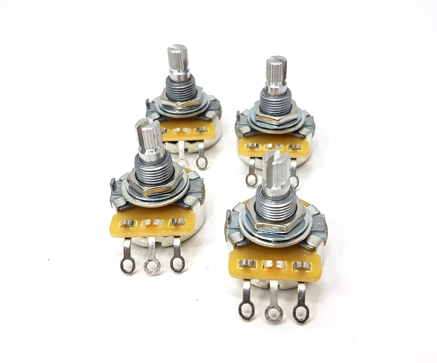 4 x - LEFT HANDED ( Reverse Audio ) 500K  Split Shaft CTS Potentiometer