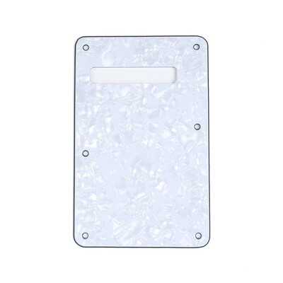 Brio Pearl White Modern Style Back Plate Tremolo Cover 4 ply - US/Mexican Fender®Strat® Fit