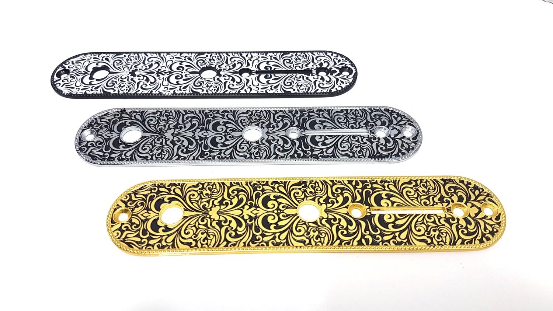 Brio Engraved Pattern Metal Tele Control Plates