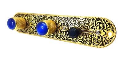 Brio Metal Engraved Tele Control Plate GOLD ON BLACK w/Blue Gem Knobs