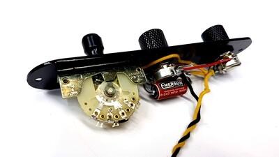 Carparelli Left Handed Reverse Tele® Emerson Bournes Control Plate Black on Black
