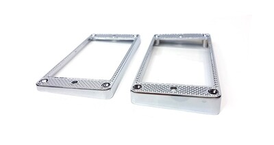 Brio Knurled Metal Humbucker Pickup Rings SET Chrome Curved Bottom