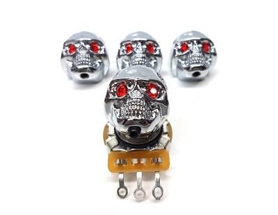 Brio 4 x Skull Knobs Volume Tone Chrome