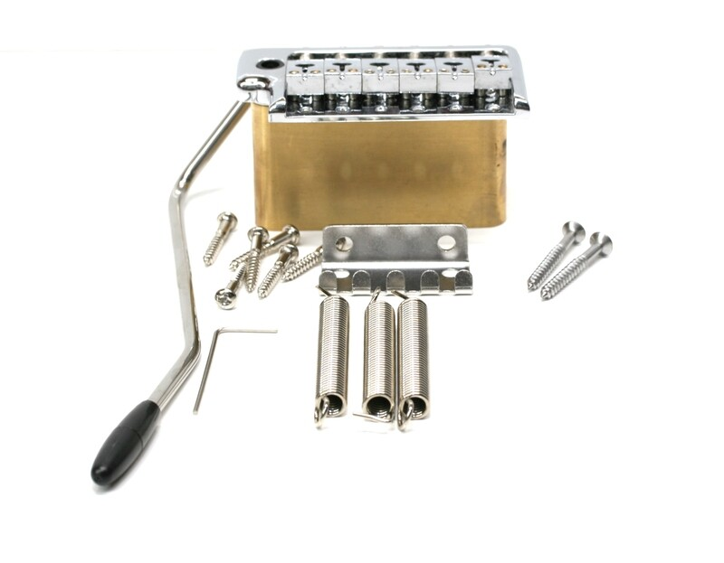 Brio Stainless Steel Saddles, Solid Brass Block 2 1/8th (53mm) String spacing Tremolo Chrome