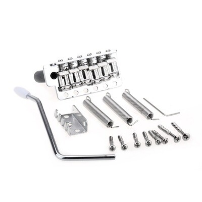 Wilkinson WVC-SB 54mm String Spacing 6-Hole Vintage Steel Saddles with Full Steel Block Tremolo Bridge for USA Vintage Strat and Japan Strat Guitar, Chrome