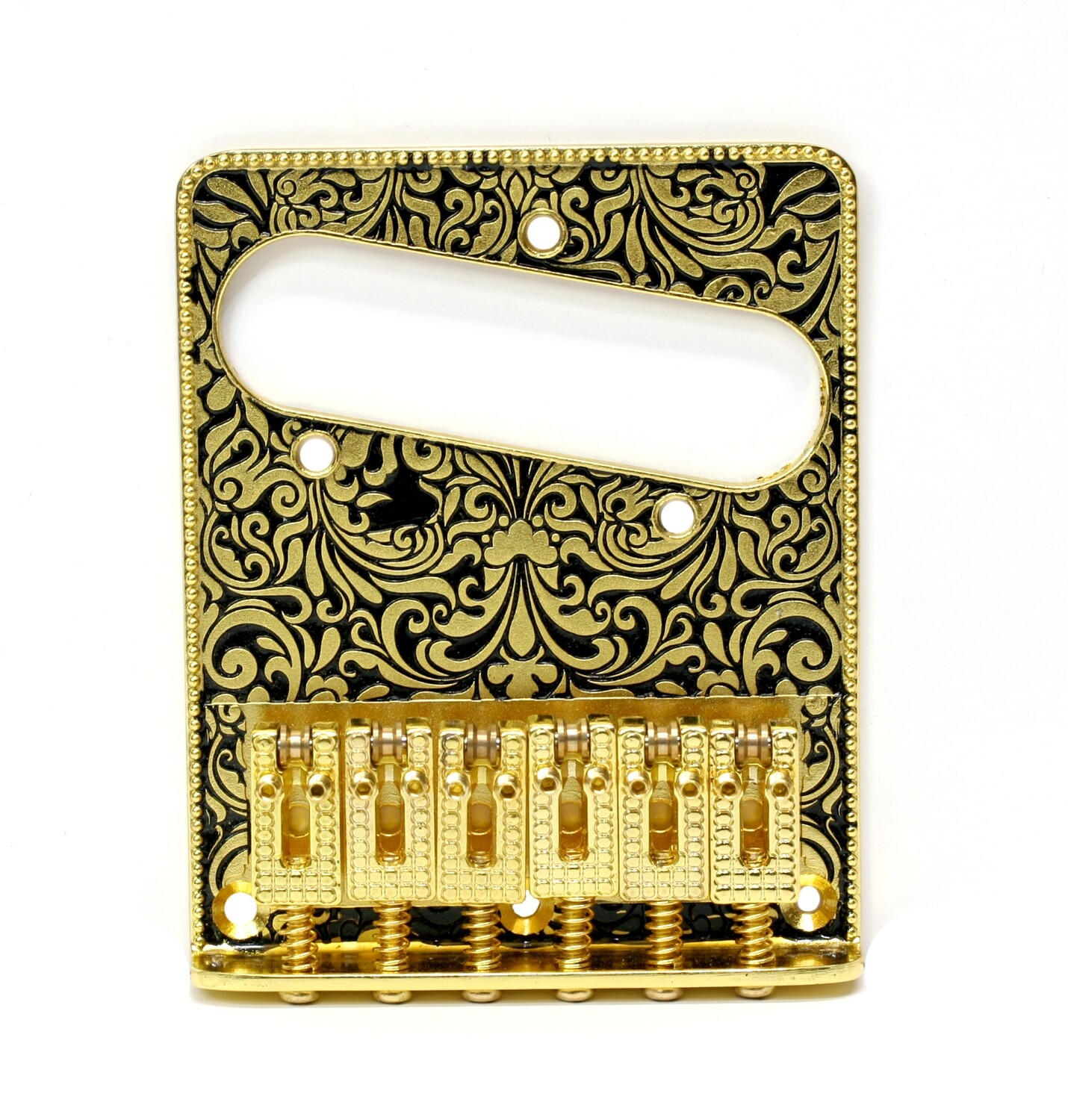 Brio 6 String Metal Telecaster Bridge Plate Design Gold on Black