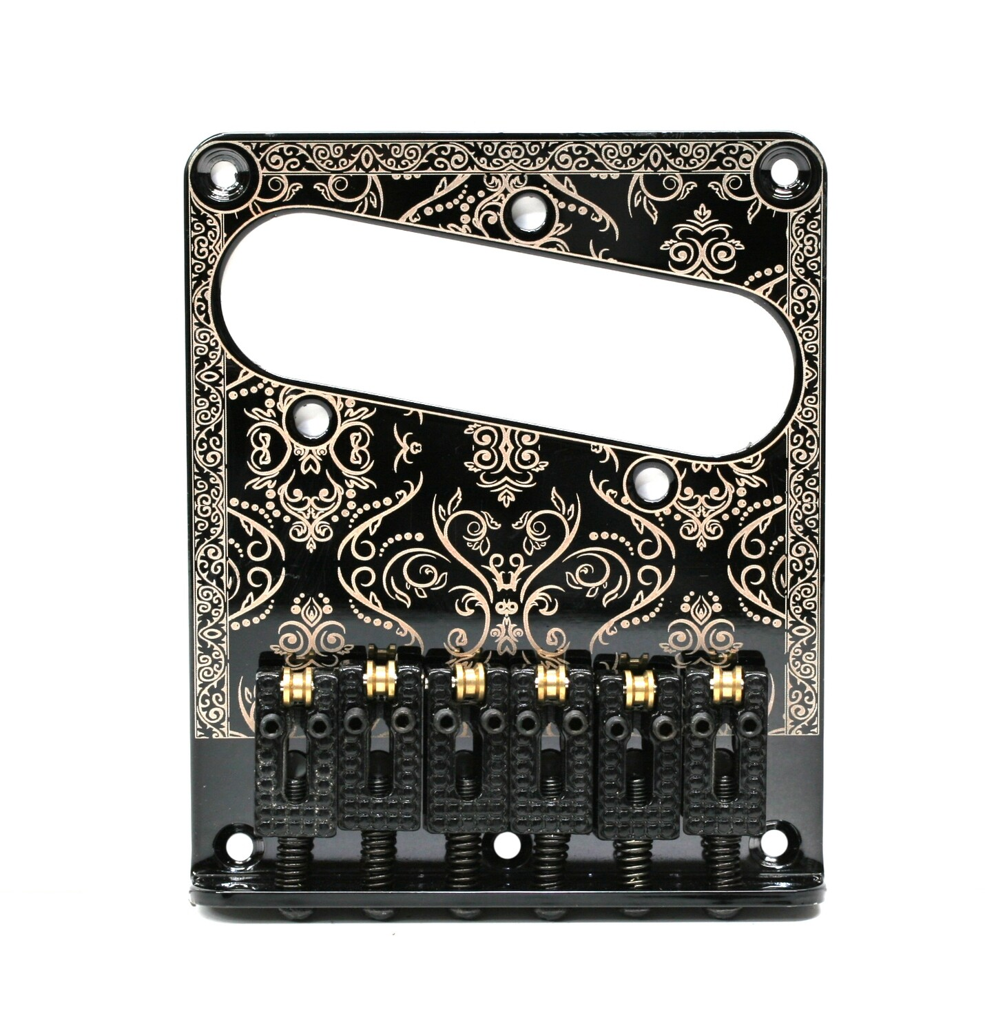 Brio 6 Saddles Telecaster Bridge Plate Design Gold on Black