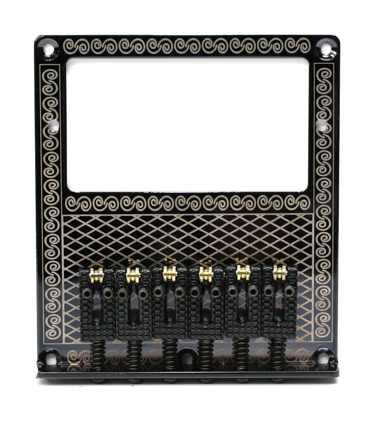 Brio 6 Saddles Humbucker Telecaster Bridge Plate Design Gold on Black