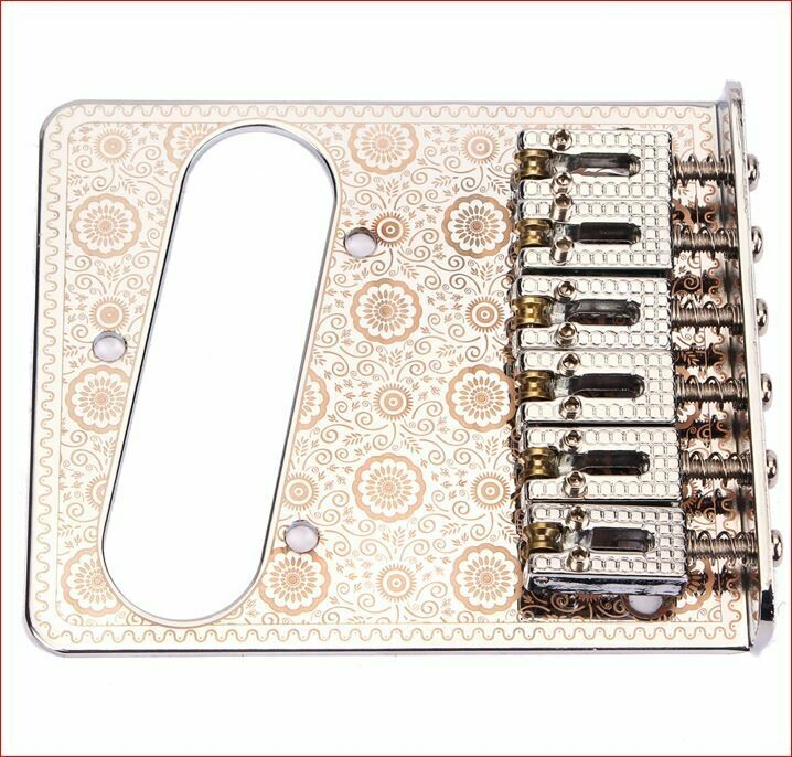 Brio 6 Roller Saddles Single Coil Telecaster Bridge Plate Design Copper on White