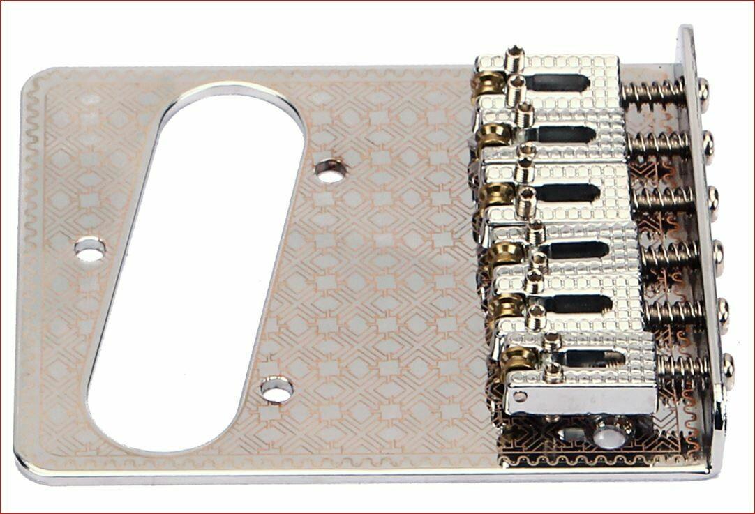 Brio 6 Roller Saddles Single Coil Telecaster Bridge Plate Design Copper on White