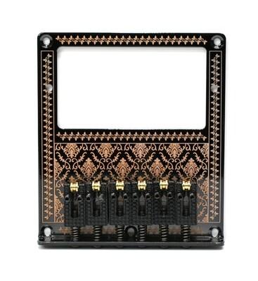 Brio 6 Roller Saddles Humbucker Telecaster Bridge Plate Design Bronze on Black