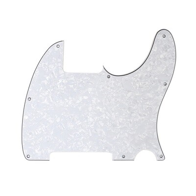 Brio Vintage Esquire 8 Hole Tele® Pickguard RH 4 Ply Pearloid White