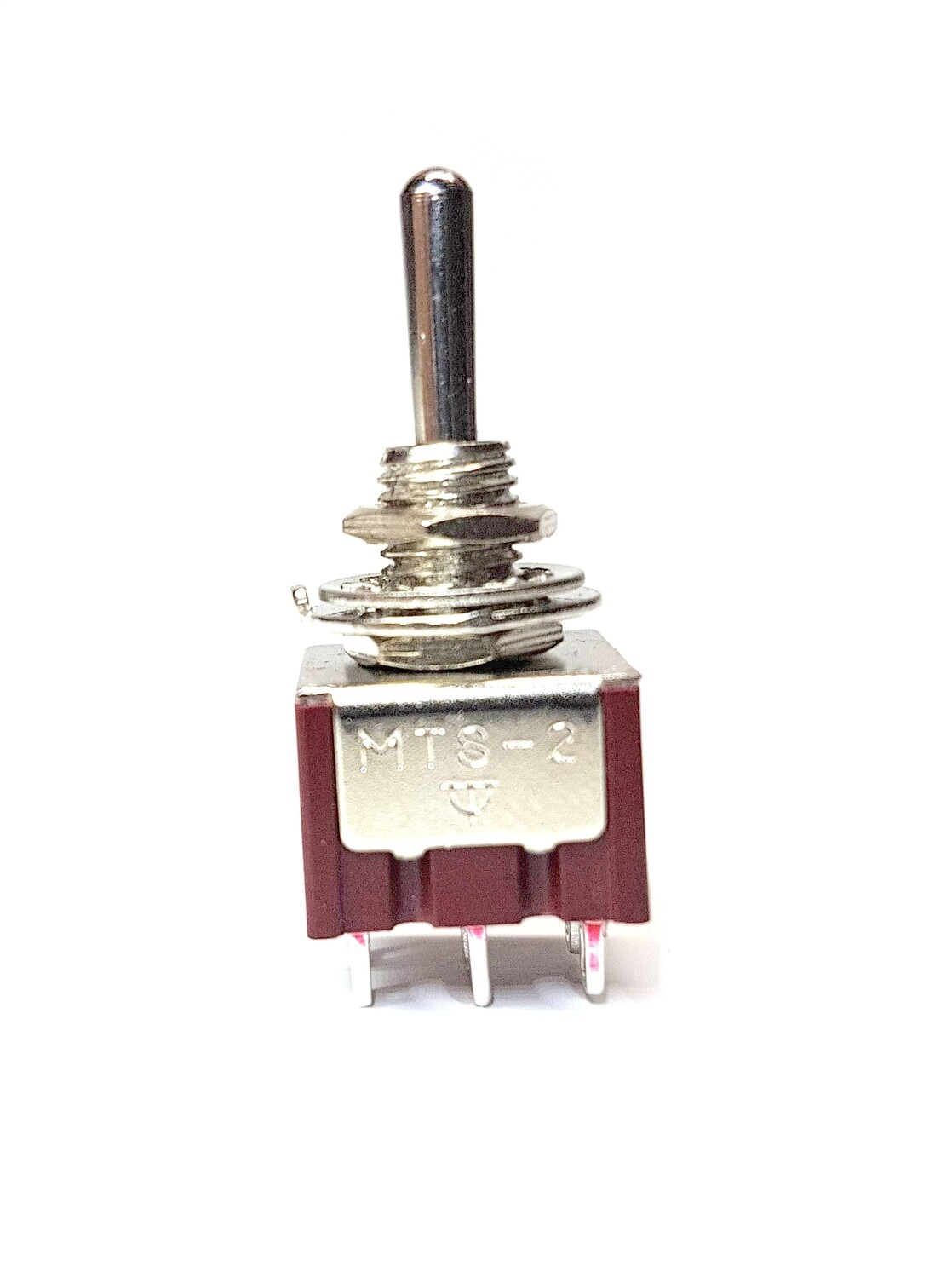 ON-ON-ON 3-way DPDT Mini Toggle Switch, Round Bat Lever Guitar & Bass CHROME