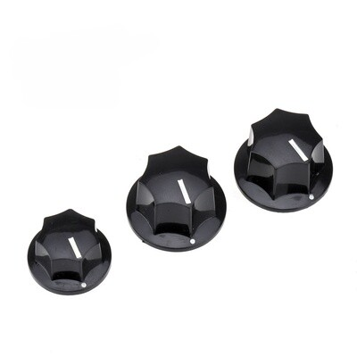 Brio US CTS Bourns Size 2 Large 1 Small Jazz Bass Knobs Set for USA Made JB Style Bass, Black