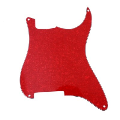 Brio Blank 4 hole outline pickguard for Strat®, 4 Ply Pearloid Red