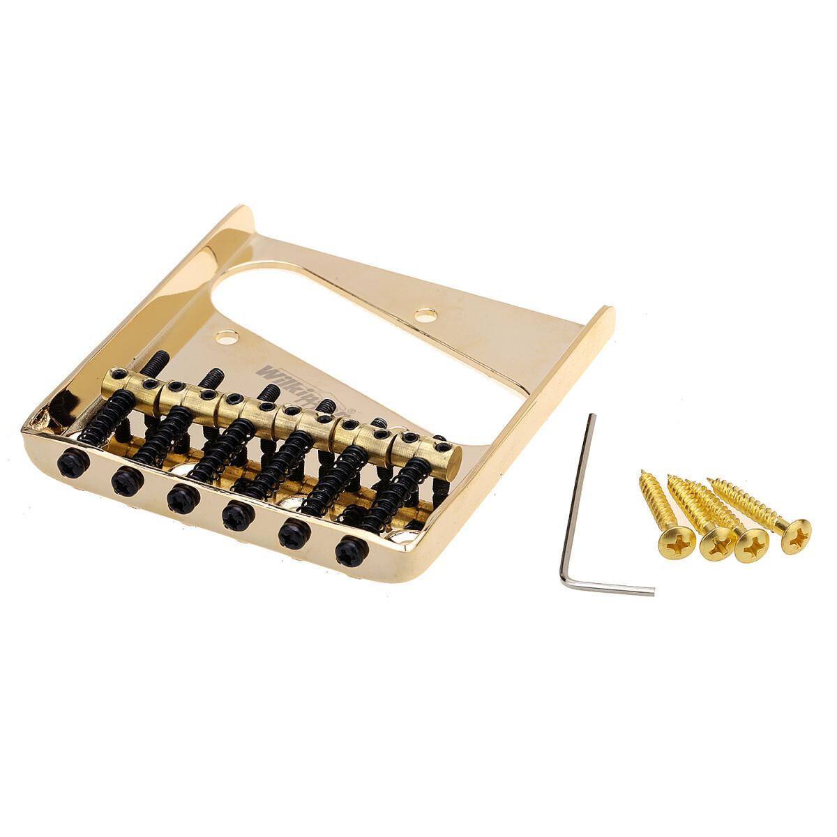 Wilkinson 54mm(2-1/8 inch) String Spacing Vintage Ashtray Telecaster Bridge 6 Brass Saddles Gold
