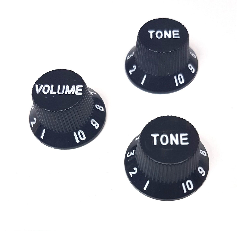 Brio Left Handed Metric Strat® Knobs, 1 Volume 2 Tone Black