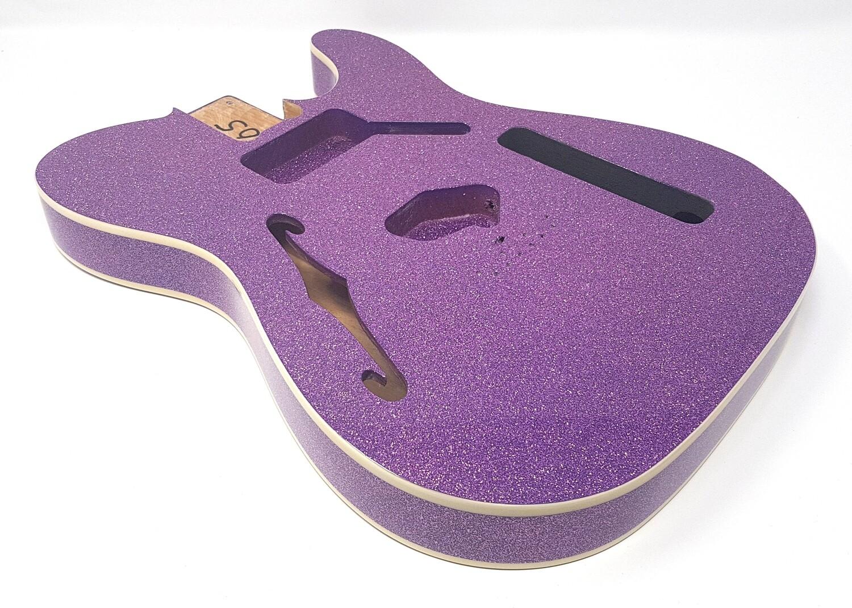 Brio Tele-Style Thinline Double Bound Purple Sparkle