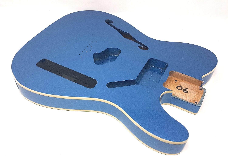 Brio Tele-Style Thinline Double Bound Metallic Blue