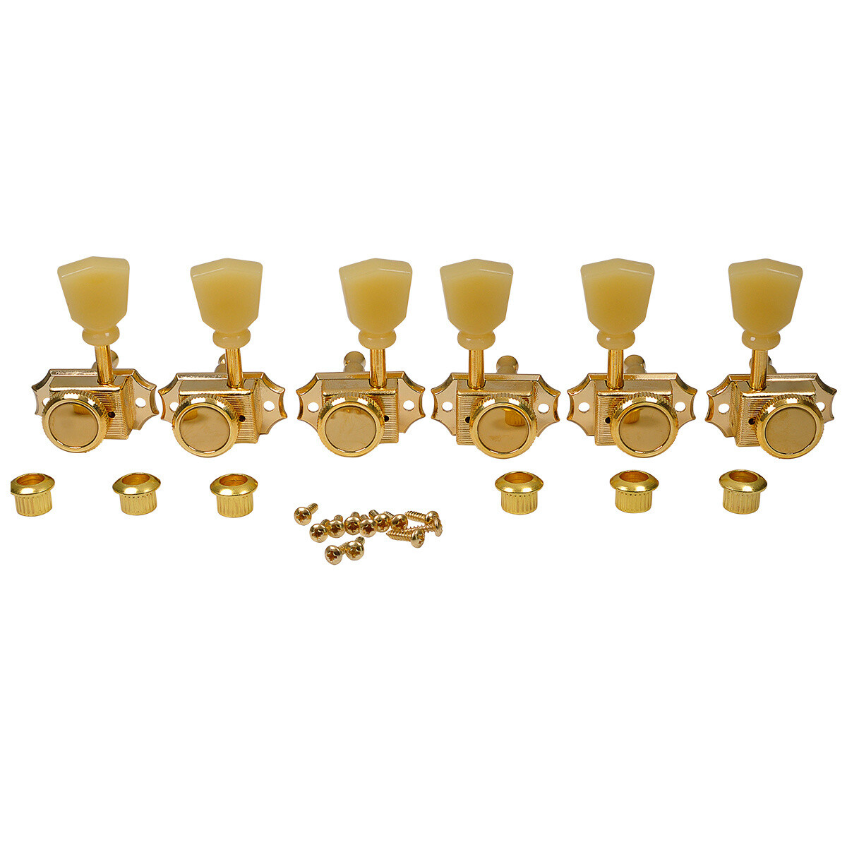 3 x 3 Pro Vintage Hybrid Style Keystone Button Gold - Cream Button
