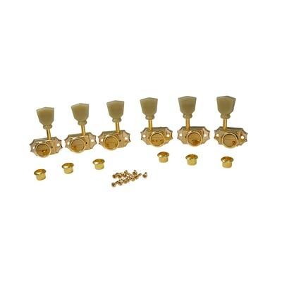 3 x 3 Pro Vintage Hybrid Style Keystone Button Gold - Green Button