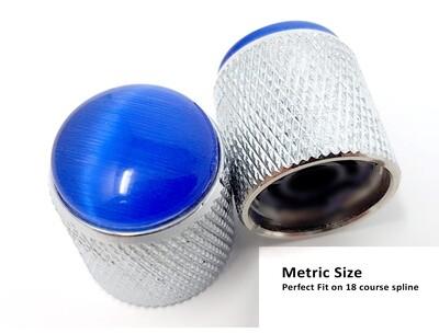 Brio Gem Knob Chrome w Blue Stone - Metric