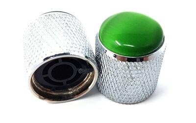 Brio Gem Knob Chrome w Green Stone - Metric
