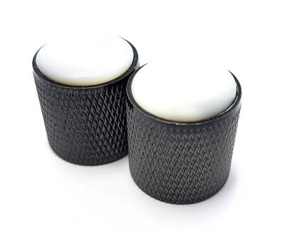 Brio Gem Knob Black w White Pearl Stone - Metric
