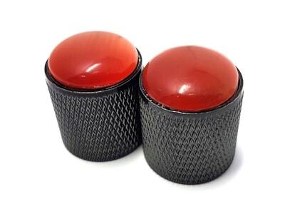 Brio Gem Knob Black w Red Stone - Metric