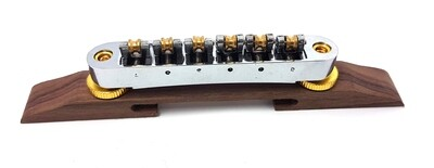 Brio Tune-o-Matic Bridge With Brass Roller Saddles on Rosewood for Hollow Body Jazz - Chrome