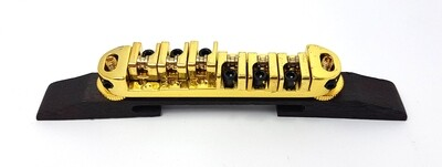 Brio Locking Bridge With Brass Roller Saddles on Rosewood for Hollow Body Jazz - Gold