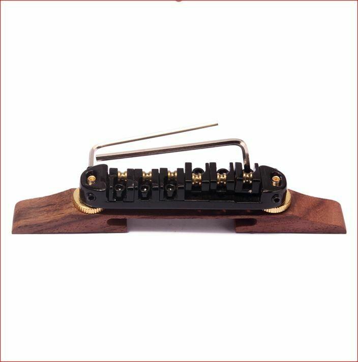 Brio Locking Bridge With Brass Roller Saddles on Rosewood for Hollow Body Jazz - Black