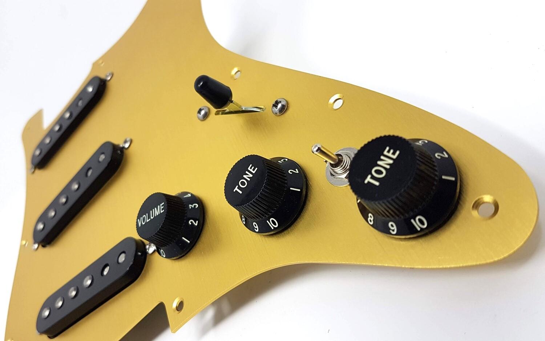 Carparelli Fully Loaded Aluminum Pickguard 9 Way Stratocaster Wiring Mod Gold Aluminum