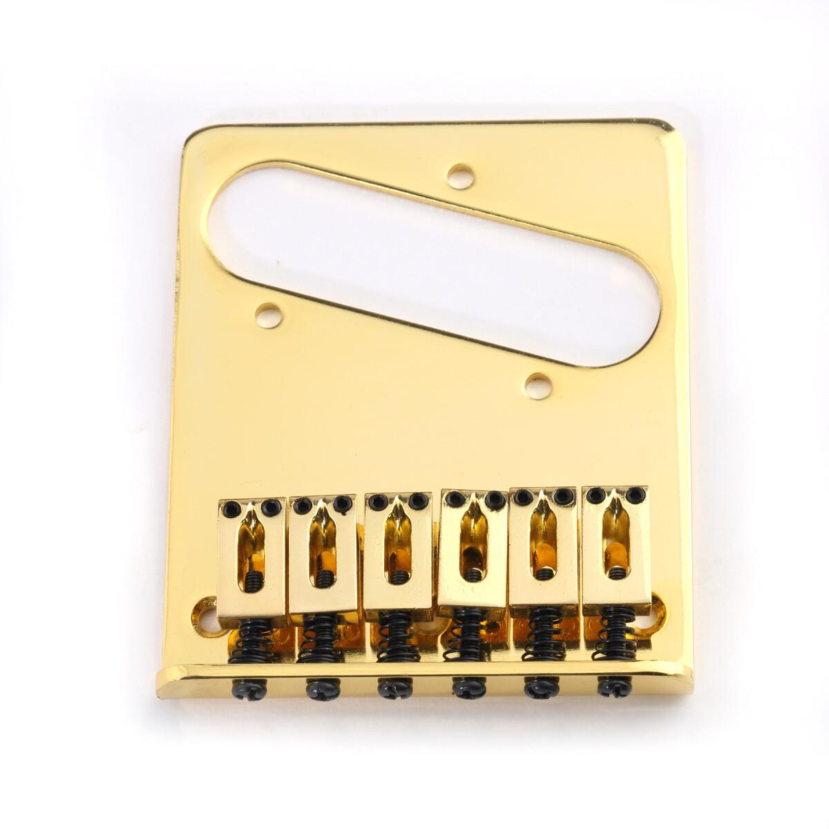 6 String Saddle Telecaster Bridge Gold