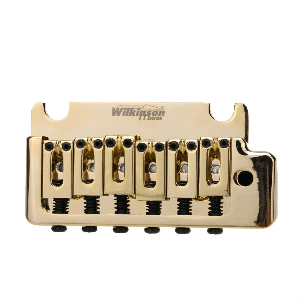 Wilkinson 52.5mm(2-1/16 inch) Full Block ST Guitar Tremolo Bridge Pop-In Arm 2-Point for American Standard or Professional Fender Strat, Gold