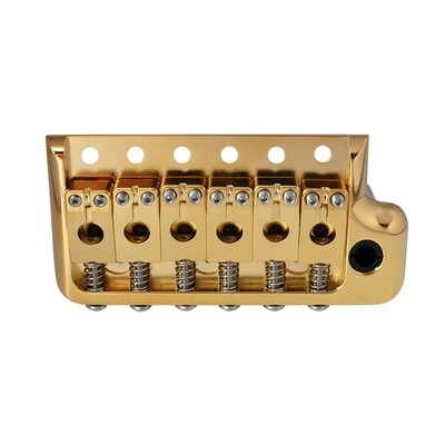 Brio 52.5mm Full Solid Brass 6-Screws PRS-Style Knife Edge Tremolo Bridge for Strat Style Electric Guitar, Gold