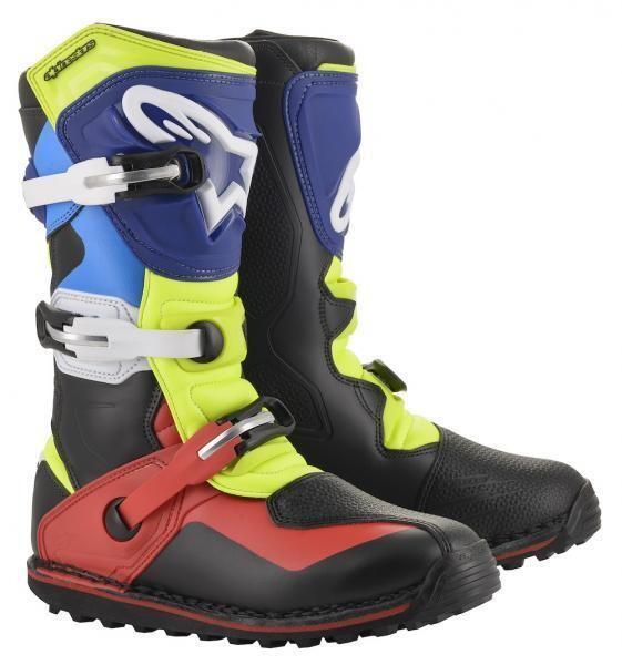 Boots, Trials, Tech T, Alpinestars (Black/Red/Blue/Yellow)