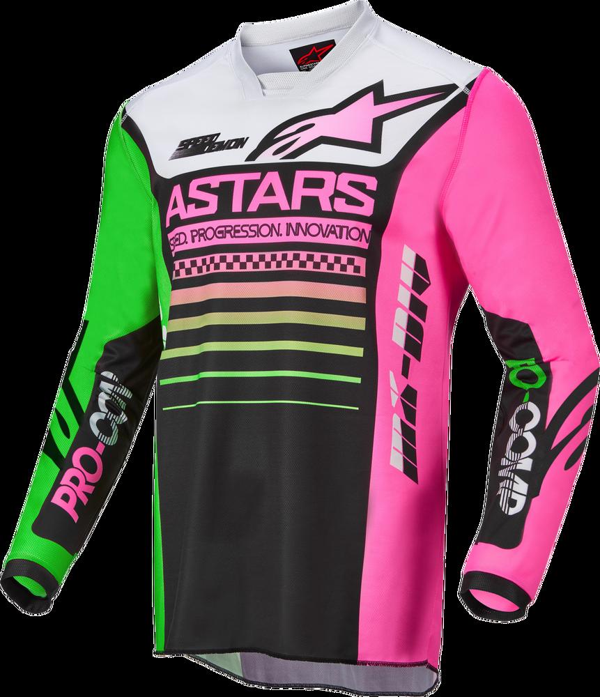 Jersey, Racer, Black/Green Neon/Pink, Kids