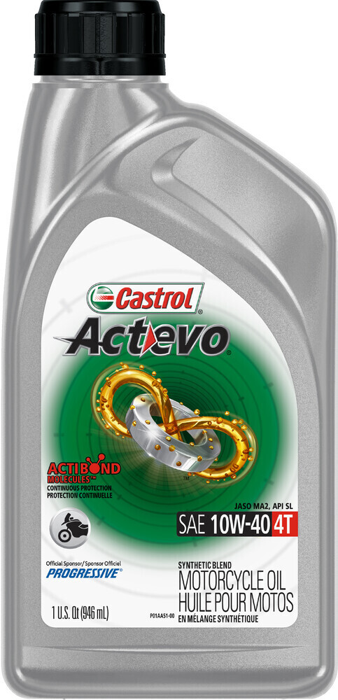 Oil, Engine, Synthetic Blend, Actevo, 10W40 4T, Castrol