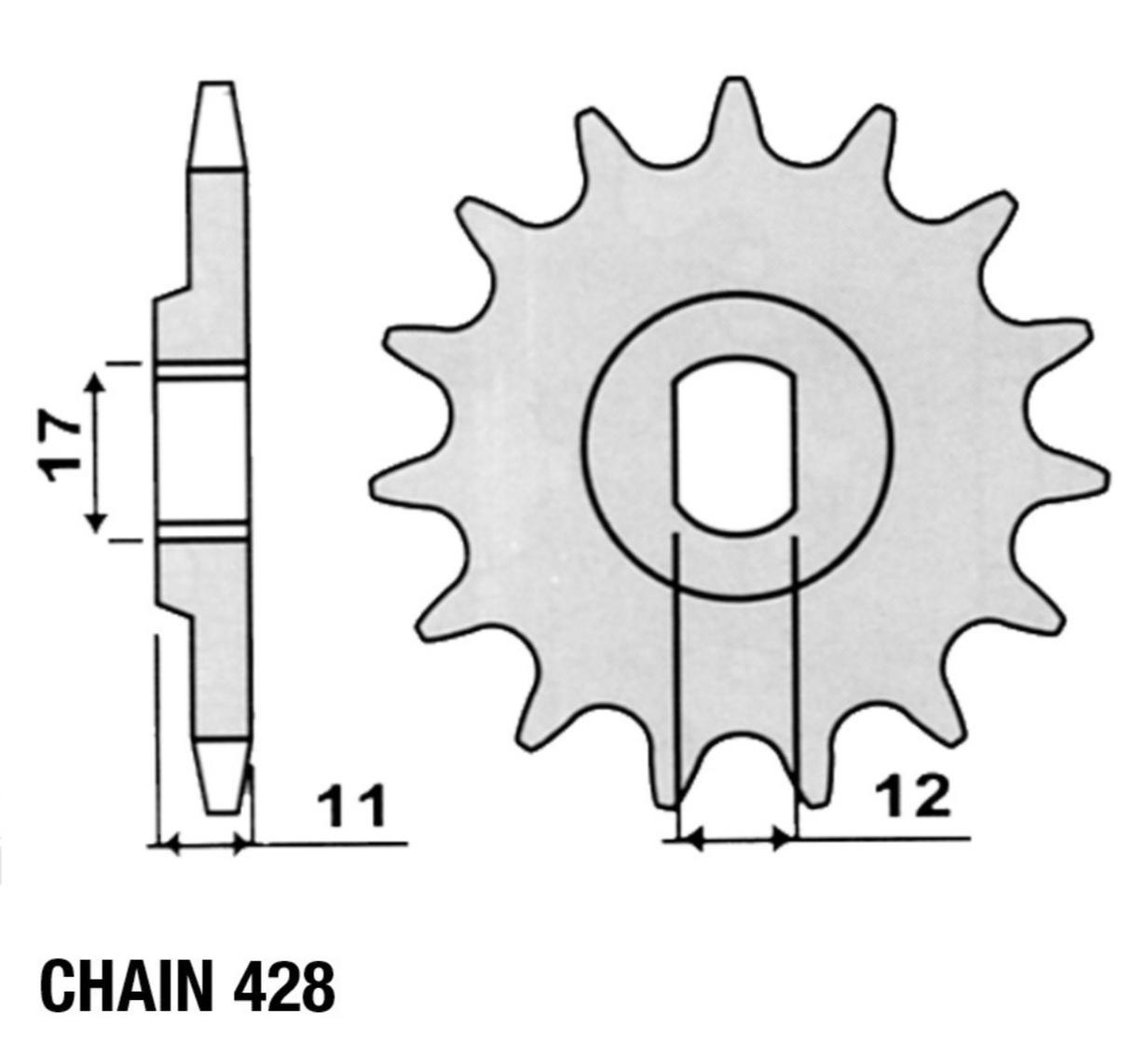 Sprocket, Countershaft, Fantic (428 Chain)